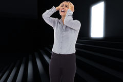 Composite image of desperate businesswoman Stock Photography