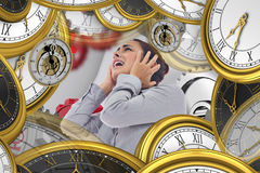 Composite image of desperate businesswoman Royalty Free Stock Photos