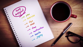 Composite image of diet plan. Diet plan against overhead of notepad and pen and coffee Stock Photos