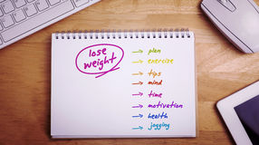 Composite image of diet plan Stock Image