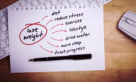 Composite image of diet plan Royalty Free Stock Images