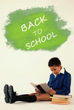 Composite image of digital composite image of back to school text on blue spray paint Stock Photography