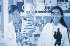 Composite image of digital image of chemical structure Stock Photography
