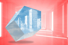 Composite image of digital city on abstract screen Royalty Free Stock Photo