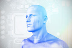 Composite image of digital composite of human figure 3D. Digital composite of human figure  against close-up of circuit board 3D Stock Images