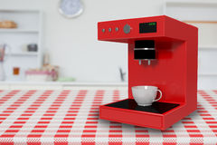 Composite image of digital composite image of coffee maker 3d. Digital composite image of coffee maker against a cupcake on a tablecloth 3d Stock Images