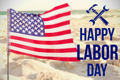 Composite image of digital composite image of happy labor day text with tools Royalty Free Stock Photo