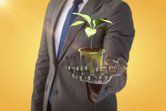 Composite image of digital composite image of potted plant 3d Stock Images