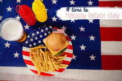 Composite image of digital composite image of time to happy labor day text Stock Images