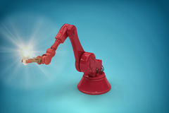Composite image of digital generated image of red robotic arm holding filament 3d. Digital generated image of red robotic arm holding filament against blue Stock Photos