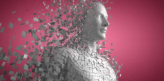 Composite image of digital gray pixelated 3d man. Digital gray pixelated 3d man against red and white background Royalty Free Stock Images