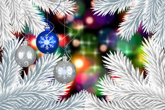 Composite image of digital hanging christmas bauble decoration. Digital hanging christmas bauble decoration against light glowing dots design pattern Stock Photos
