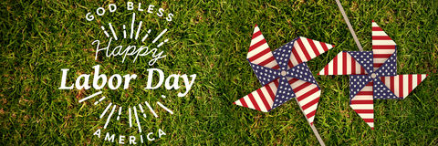Composite image of digital composite image of happy labor day and god bless america text Stock Photos