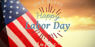 Composite image of digital composite image of happy labor day and god bless america text. Digital composite image of happy labor day and god bless America text Royalty Free Stock Photo