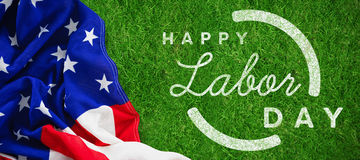 Composite image of digital composite image of happy labor day text with blue outline Royalty Free Stock Photography