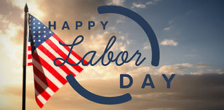Composite image of digital composite image of happy labor day text with blue outline Stock Photos