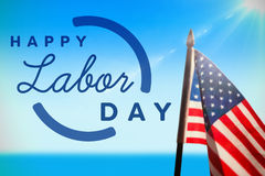 Composite image of digital composite image of happy labor day text with blue outline. Digital composite image of happy labor day text with blue outline against stock images