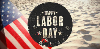Composite image of digital composite image of happy labor day text poster Royalty Free Stock Images