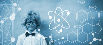 Composite image of digital image of atomic structure. Digital image of atomic structure against boy dressed as senior teacher in front of blackboard Stock Image