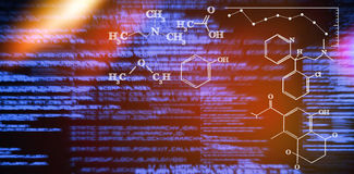 Composite image of digital image of chemical formulas Stock Photography