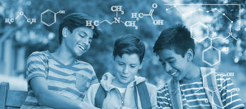 Composite image of digital image of chemical formulas Stock Images
