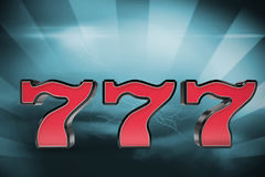 Composite image of digital image of 3d numbers seven. Digital image of 3D numbers seven against thunderstrom over landscape Stock Photography