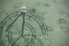 Composite image of digital image of drawing compass. Digital image of drawing compass against blue Stock Photos