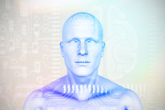 Composite image of digital image of human figure 3D. Digital image of human figure  against human brain in circuit board 3D Royalty Free Stock Images
