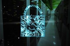 Composite image of digital image of lock shape on circuit board. Digital image of lock shape on circuit board against empty server room royalty free illustration