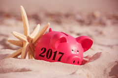 Composite image of digital image of new year 2017. Digital image of new year 2017 against close-up of sea coral and piggy at beach Royalty Free Stock Photography