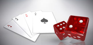 Composite image of digital image of red dice. Digital image of red dice against grey background Stock Photo