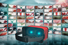 Composite image of digital image of red virtual reality simulator Royalty Free Stock Image