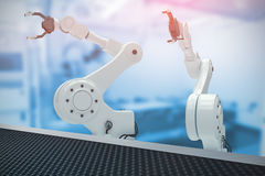 Composite image of digital image of robotic hand with claw 3d Royalty Free Stock Photo
