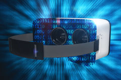 Composite image of digital image of white virtual reality headset Stock Photo
