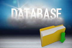 Composite image of digital image of yellow folder with downloading arrow symbol. Digital image of yellow folder with downloading arrow symbol against database Stock Images