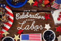 Composite image of digital composite image of join celebratio event labor day text Stock Images