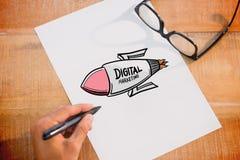 Composite image of digital marketing rocket Stock Photos
