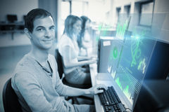 Composite image of digital representation of pie chart Stock Photos
