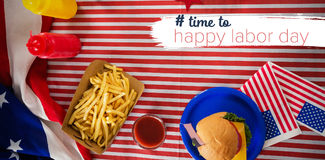 Composite image of digital composite image of time to happy labor day text Royalty Free Stock Photo