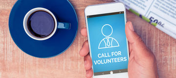 Composite image of digitally composite image of call for volunteers text with human icon. Digitally composite image of Call For Volunteers text with human icon vector illustration