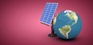 Composite image of digitally composite image of 3d globe with solar panel Royalty Free Stock Photos
