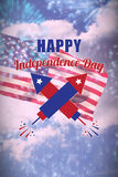 Composite image of digitally composite image of happy independence day text Stock Images