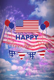 Composite image of digitally composite image of happy independence day text. Digitally composite image of Happy independence day text  against colourful Stock Photography