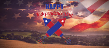 Composite image of digitally composite image of happy independence day text. Digitally composite image of Happy Independence Day text against country scene Royalty Free Stock Image