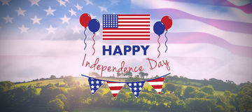 Composite image of digitally composite image of happy independence day text. Digitally composite image of Happy independence day text  against country scene Stock Photo