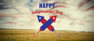 Composite image of digitally composite image of happy independence day text. Digitally composite image of Happy Independence Day text against field in the Vector Illustration