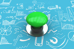Composite image of digitally generated green push button Stock Photo