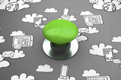 Composite image of digitally generated green push button Royalty Free Stock Photo