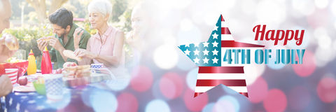 Composite image of digitally generated image of american flag with text Stock Photo