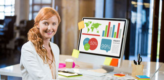 Composite image of digitally generated image of business presentation Royalty Free Stock Image